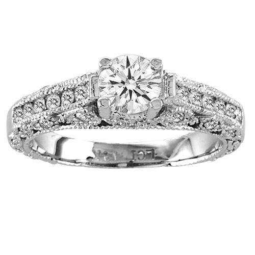 Diamond Engagement Ring 3 Stone Lucida Antique Look 1.50cttw