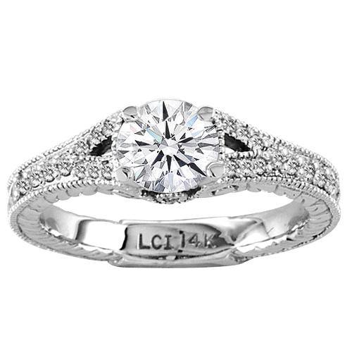 14K White Gold Engagement Ring Antique Look Micro Pave' Ring Round 1.15ct tw