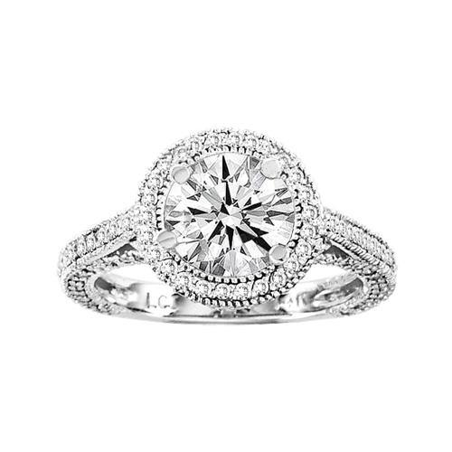Diamond Engagement Ring Antique Look 14k White Gold Round 0.75ct tw