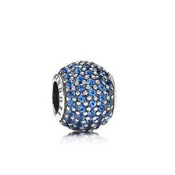 Abstract Pave Silver Charm w Blue Crystal
