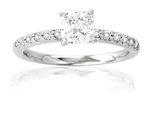 Diamond Engagement Ring 14K White Gold Micro Pave' Antique Look 2.30ct tw