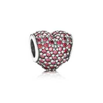 Red Heart Pave Silver Charm