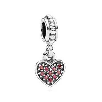 Red Heart pave silver dangle
