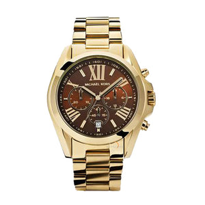 Michael Kors Mid-Size Golden Stainless Steel and Chocolate Bradshaw Chronograph Women's Watch MK5502