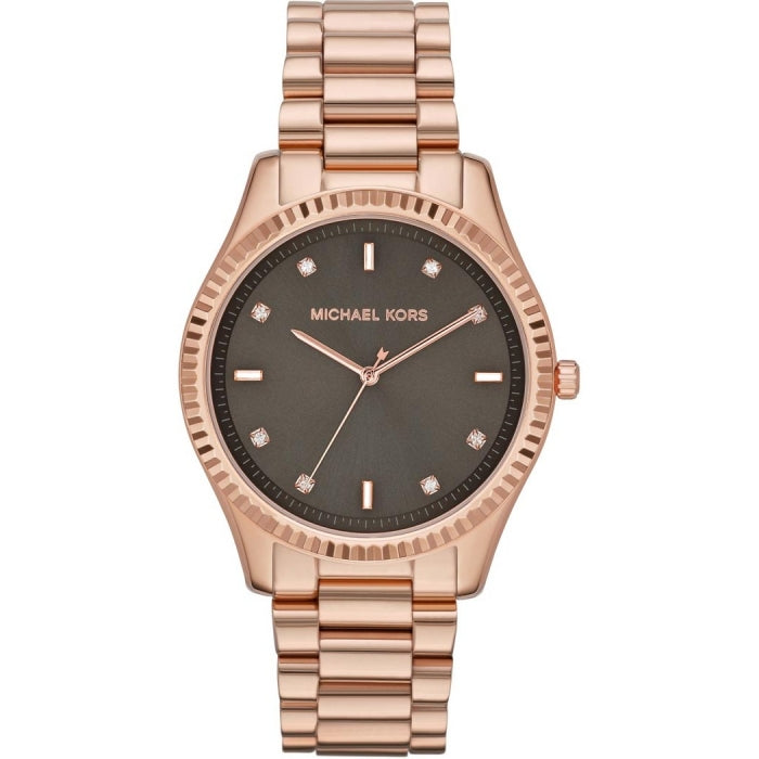 Michael Kors Mid-Size Rose Golden Stainless Steel Blake Three-Hand Women's Glitz MK3227 Watch