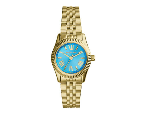 Michael Kors Petite Golden Blue Stainless Steel Lexington Three-Hand MK3271 Women's Watch