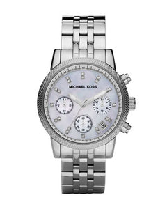 Michael Kors Mid-Size Silver Color Stainless Steel Ritz Chronograph Glitz MK5020 Women's Watch