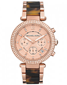 Michael Kors Parker Mid-Size Rose Golden Stainless Steel and Tortoise Acetate Parker Chronograph Glitz MK5538 Women's Watch