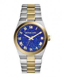Michael Kors Mid-Size Channing Silver Color Golden Stainless Steel Three-Hand MK5893 Women's Watch