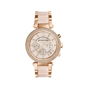 Michael Kors Mid-Size Rose Golden Stainless Steel Parker Chronograph Glitz MK5895 Women's Watch