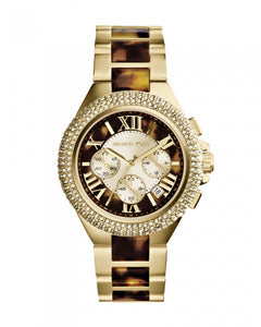 Michael Kors Mid-Size Golden Tortoise Stainless Steel Camille Chronograph Glitz MK5901 Women's Watch