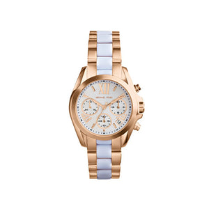 Michael Kors Mini Rose Golden White Stainless Steel Bradshaw Chronograph MK5907 Women's Watch