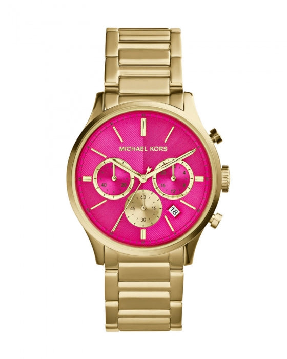 Michael Kors Mid-Size Golden Pink Stainless Steel Bailey Chronograph MK5909 Women's Watch