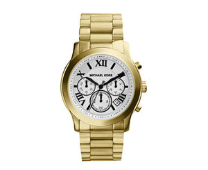 Michael Kors Mid-Size Cooper Golden Stainless Steel Runway Chronograph MK5916 Woman's Watch