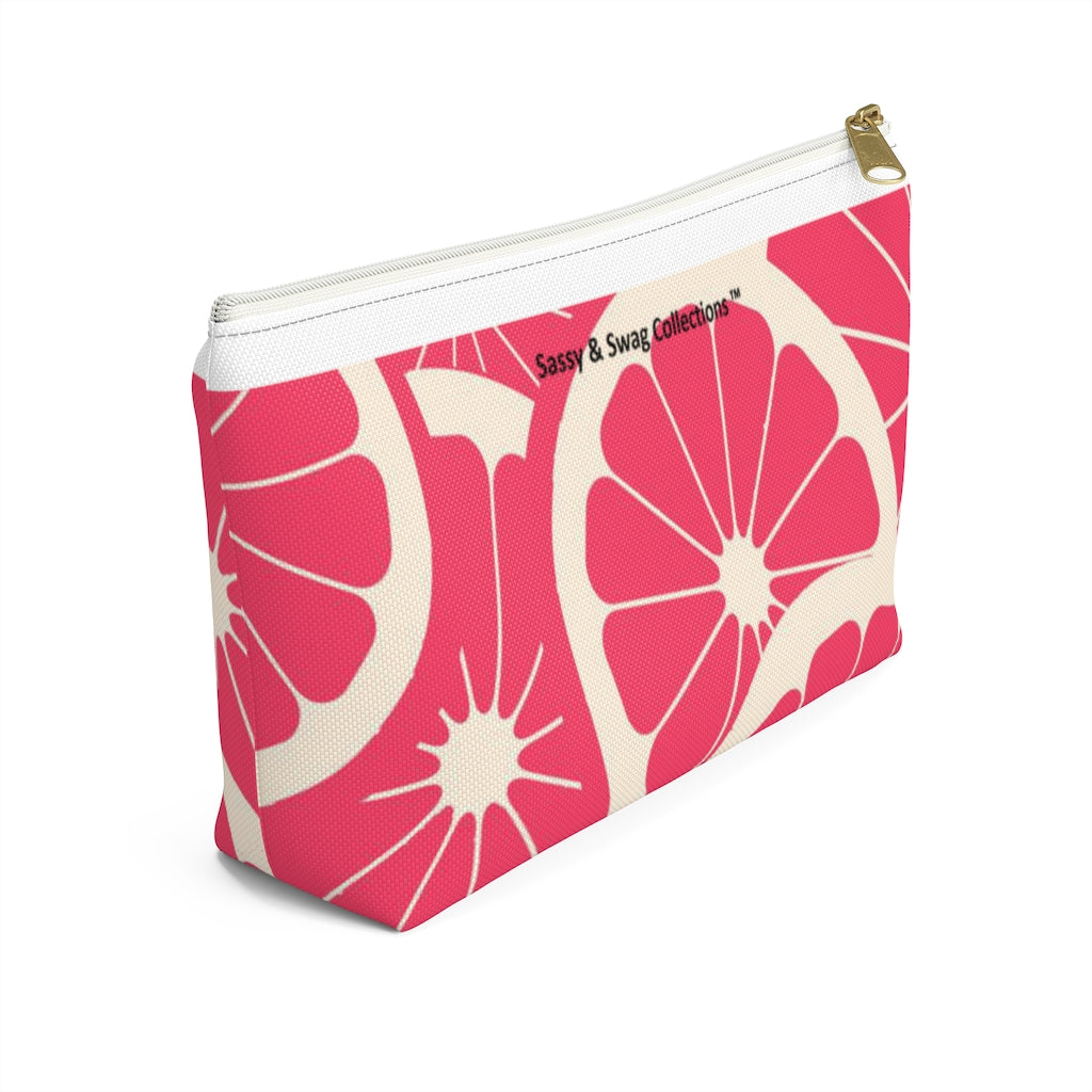 Pink Grapefruit Accessory Pouch w T-bottom
