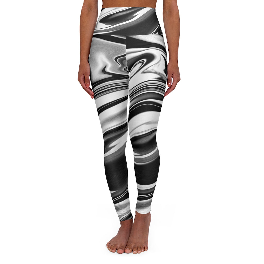 High Waisted Yoga Leggings - black and white