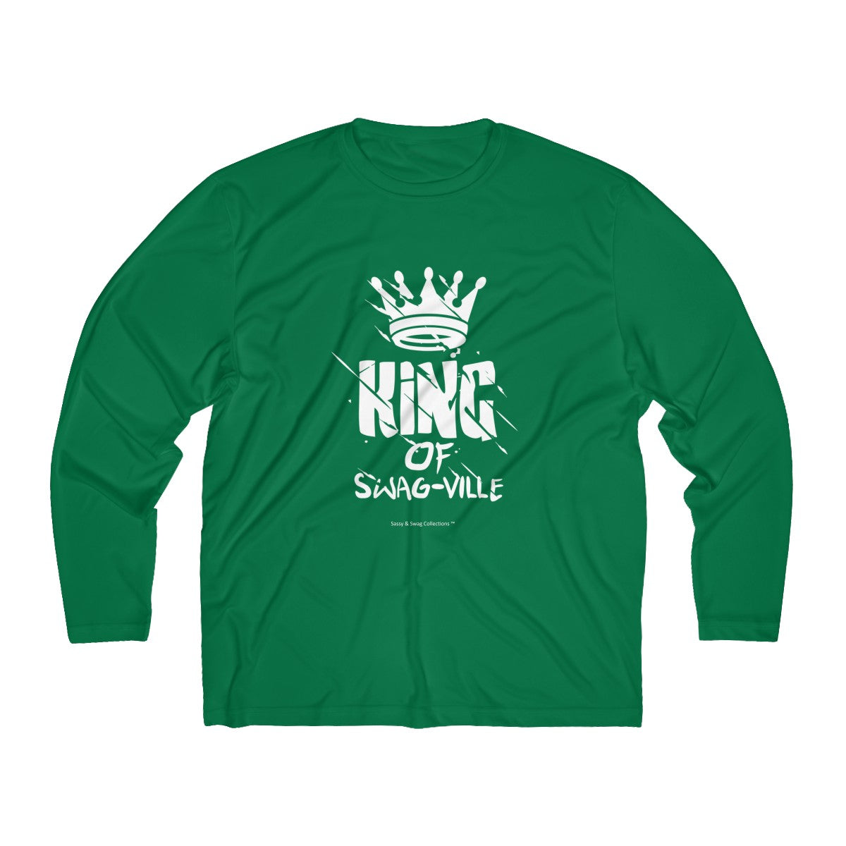 Sassy & Swag Collections - King of Swag-ville Men's Long Sleeve Moisture Absorbing Tee