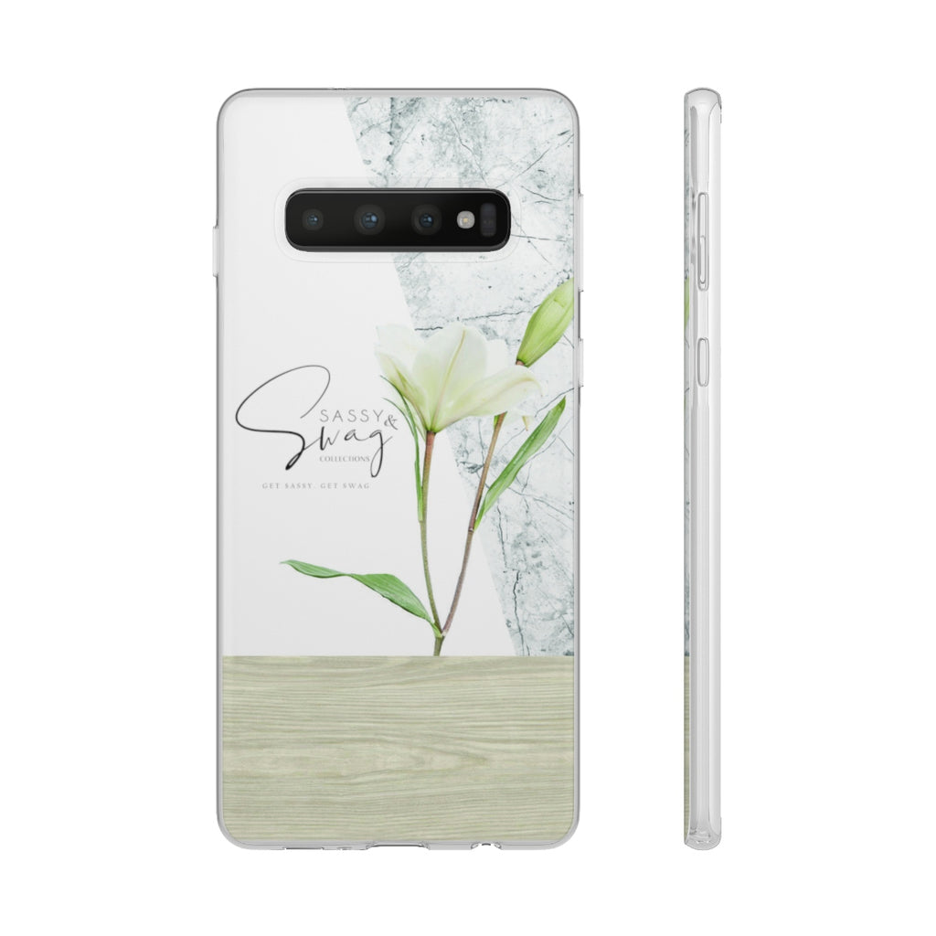 Sassy & Swag Collections - White Flower Flexi Cases