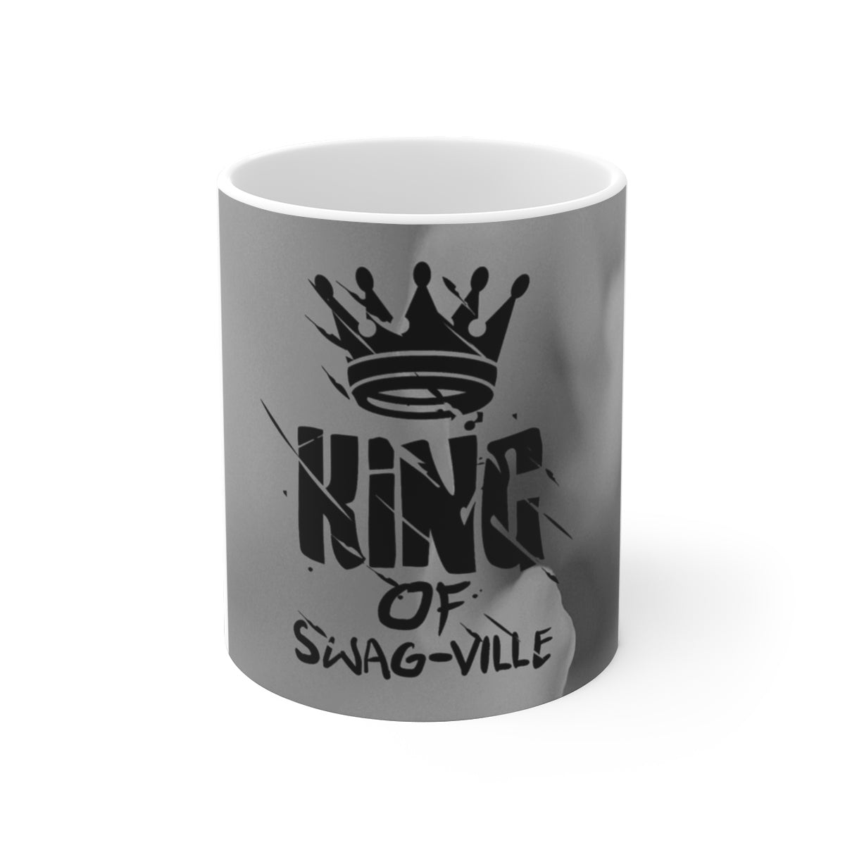 Sassy & Swag Collections - King of Swag-ville Gray Design White Ceramic Mug