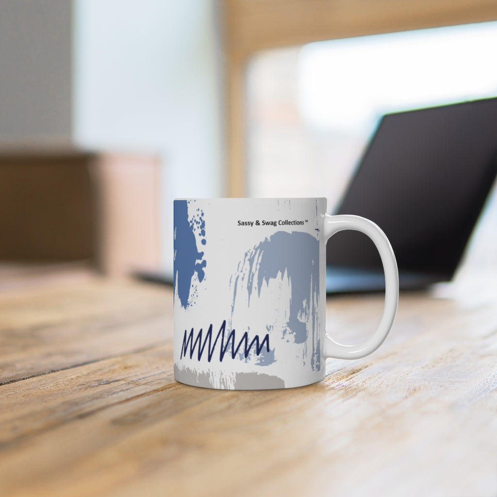 Blue Abstract White Ceramic Mug