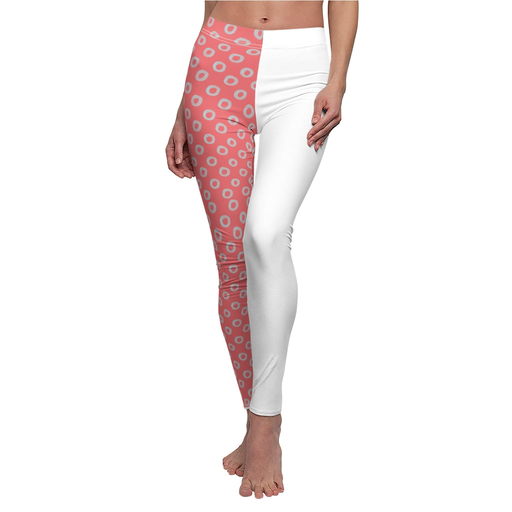 Red and White Women's Leggings