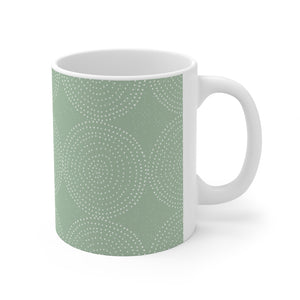 Green Dot Ceramic Mug 11oz