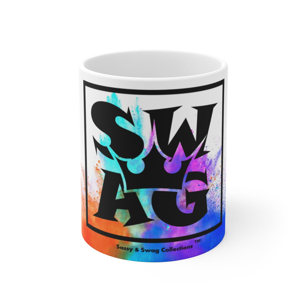 Sassy & Swag Collections - Swag King Multi-colored White Ceramic Mug