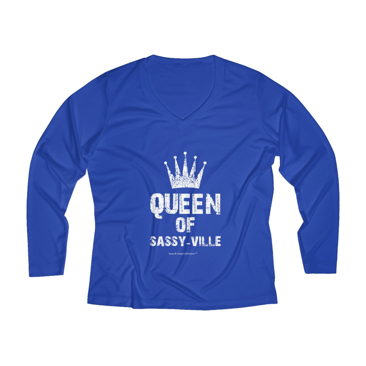 Sassy & Swag Collections - Queen of Sassy-ville Women's Long Sleeve Performance V-neck Tee
