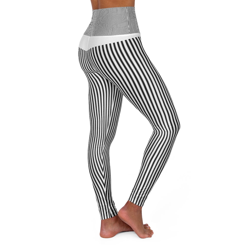 High Waisted Yoga Leggings - striped