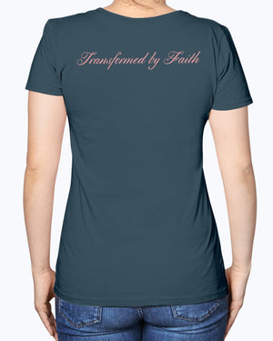 Transformed by Faith Fruit of the Loom Ladies Heavy Cotton T-Shirt