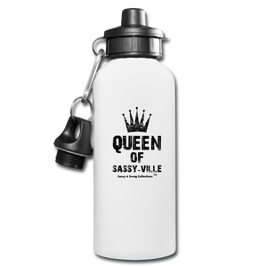 Queen of Sassy-ville Water Bottle - white