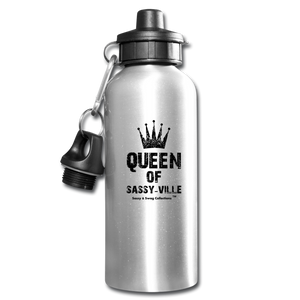 Queen of Sassy-ville Water Bottle - silver