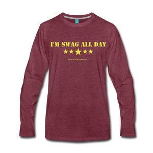 I'm Swag All Day Men's Premium Long Sleeve T-Shirt - heather burgundy