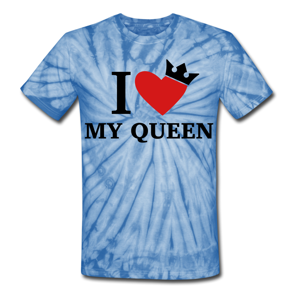 I Love My Queen Tie Dye T-Shirt - spider baby blue