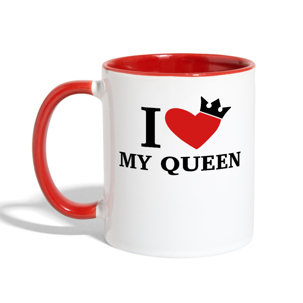 I Love My Queen Coffee Mug - white/red