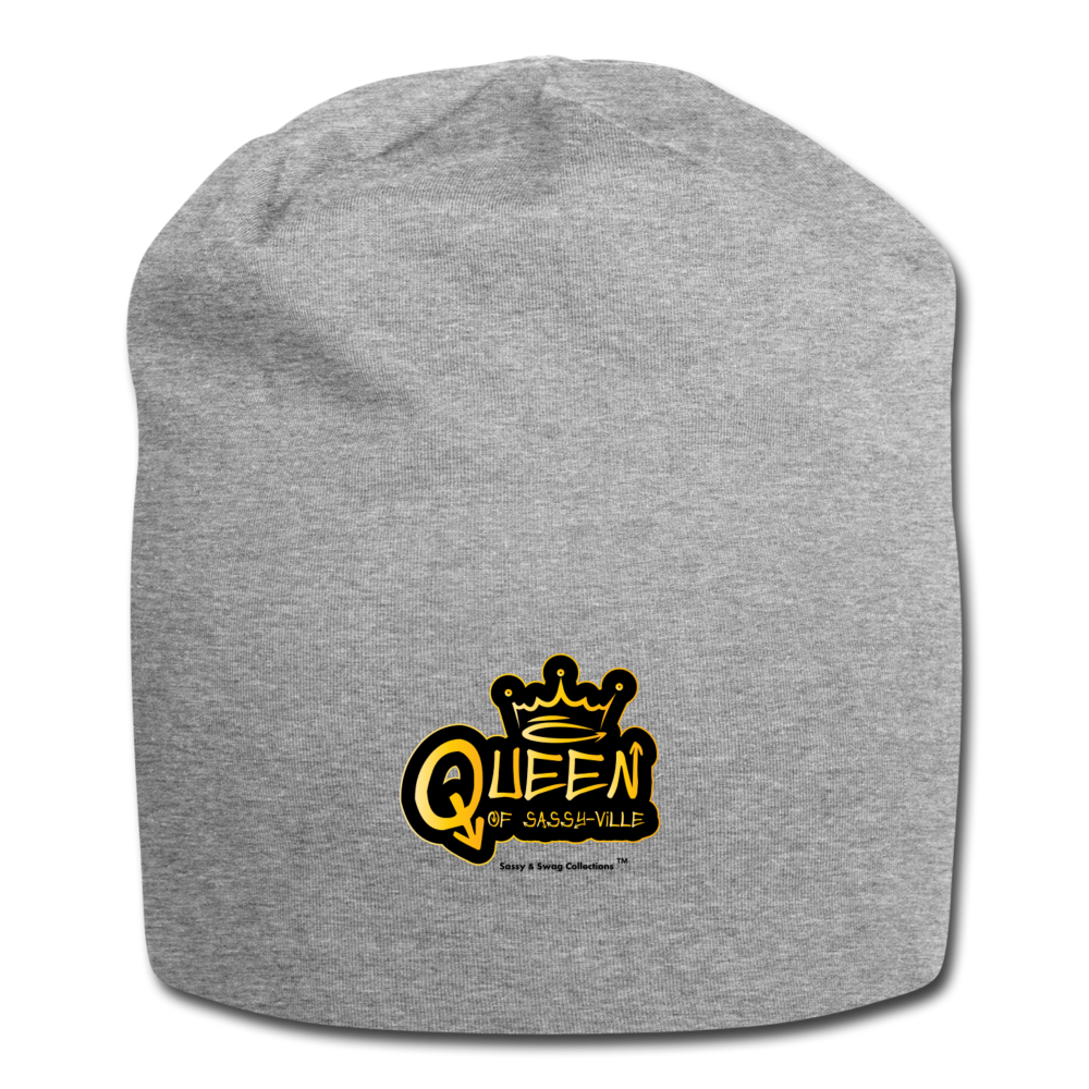 Queen of Sassy-ville Jersey Beanie - heather gray