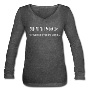John 3:16 Women's Long Sleeve V-Neck Flowy Tee - deep heather