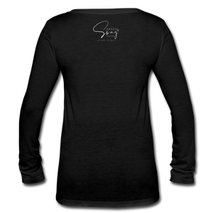 John 3:16 Women's Long Sleeve V-Neck Flowy Tee - black