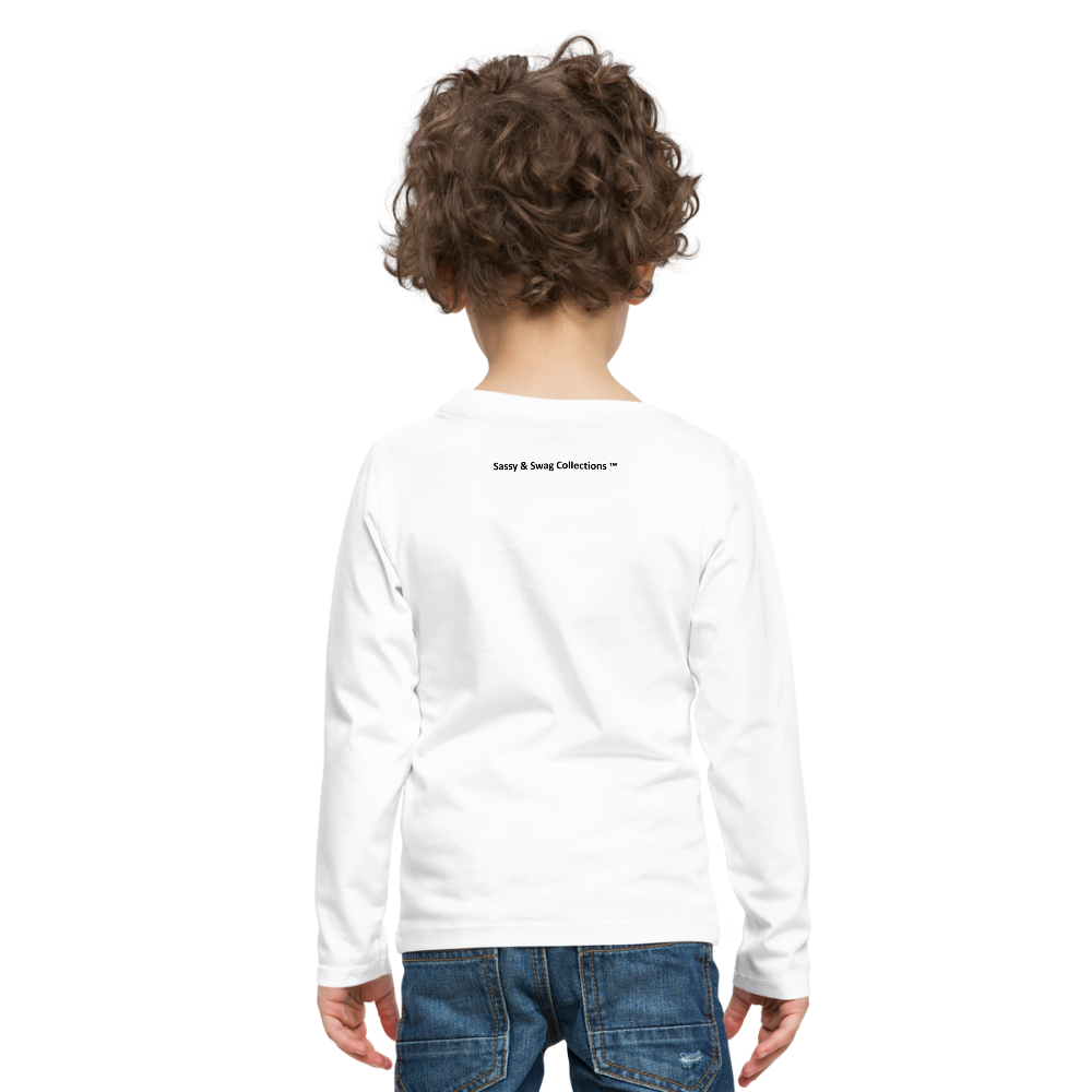 Boom Lightning Bolt Kids' Premium Long Sleeve T-Shirt - white