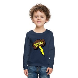Boom Lightning Bolt Kids' Premium Long Sleeve T-Shirt - navy