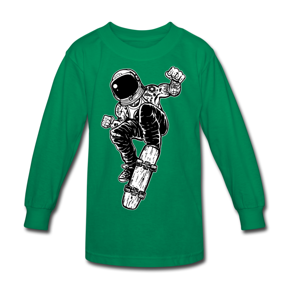 Space Skater Kids' Long Sleeve T-Shirt - kelly green