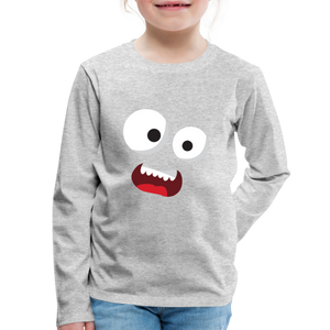 Monster Face Kids' Premium Long Sleeve T-Shirt - heather gray