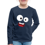 Monster Face Kids' Premium Long Sleeve T-Shirt - navy