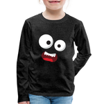 Monster Face Kids' Premium Long Sleeve T-Shirt - charcoal gray