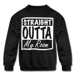 Straight Outta My Room Kids' Crewneck Sweatshirt - black