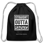 Straight Outta Swag Cotton Drawstring Bag - black