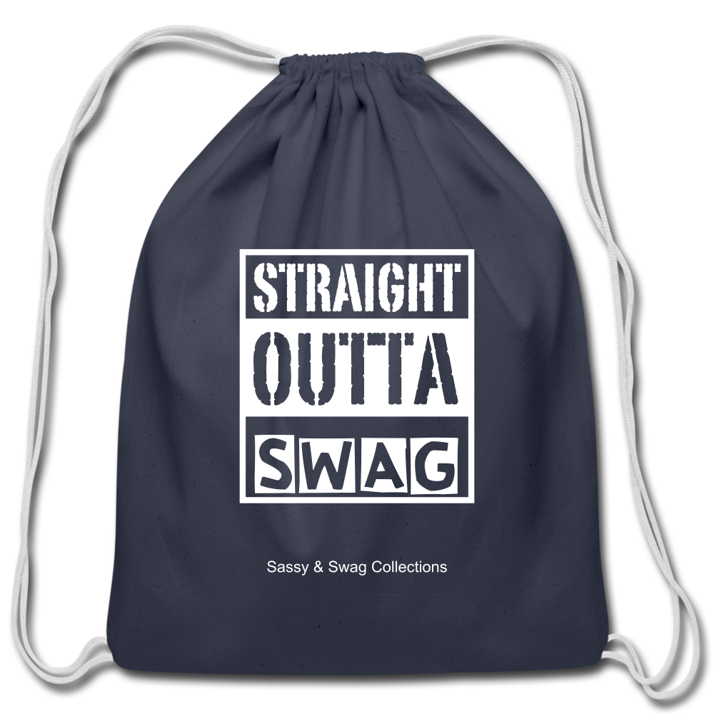 Straight Outta Swag Cotton Drawstring Bag - navy