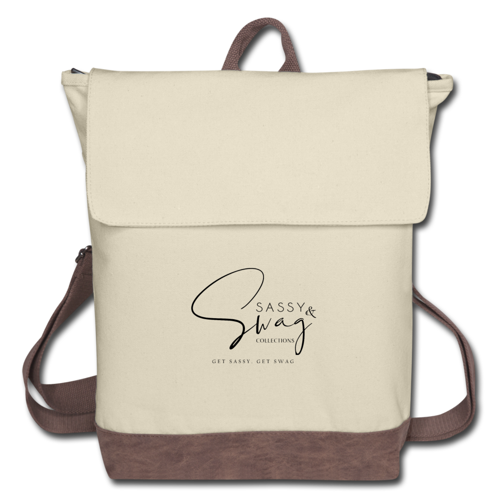 Sassy & Swag Collections Canvas Backpack - ivory/brown