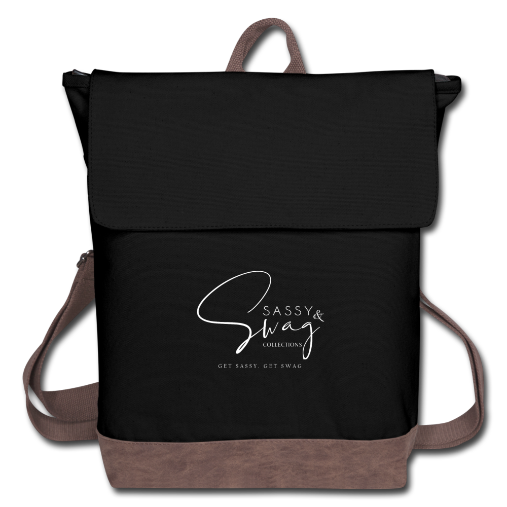Sassy & Swag Collections Canvas Backpack - black/brown