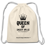Queen of Sassy-ville Cotton Drawstring Bag - natural